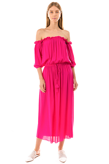 $30 - Cute cheap ruffle midi dress - fuchsia pink off shoulder quarter sleeve waist tie boho maxi evening sun dress