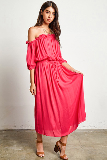 $30 - Cute cheap light pink satin floral off shoulder ruffle tiered boho mini sun dress - fuchsia pink off shoulder quarter sleeve waist tie boho maxi evening sun dress