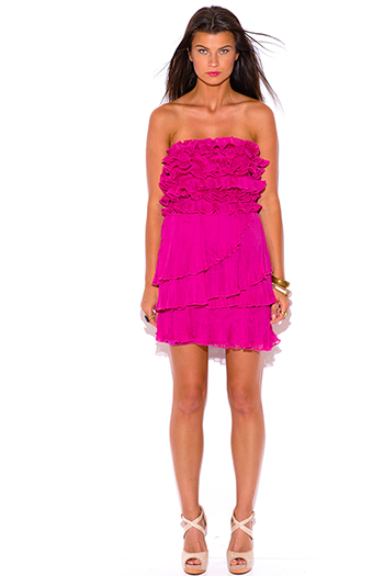 $7 - Cute cheap black bejeweled studded ruched ruffle fitted strapless sexy club mini dress - fuchsia hot pink pleated chiffon ruffle strapless formal cocktail party mini dress