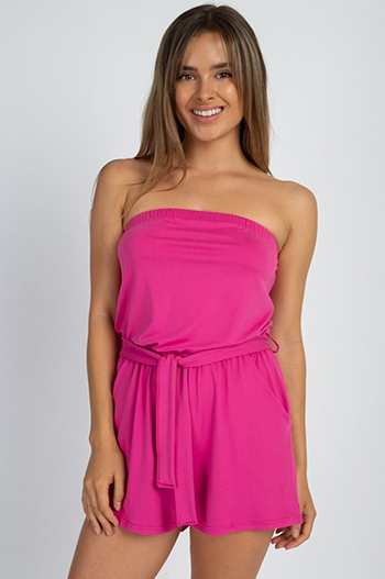 $15 - Cute cheap ivory white ruffle v neck sleeveless open tie back boho blouse top - Fuchsia pink strapless tie waist boho resort pocketed romper playsuit jumpsuit