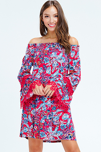 $15 - Cute cheap blue shift mini dress - fuchsia red floral print off shoulder long bell sleeve crochet lace trim boho mini dress