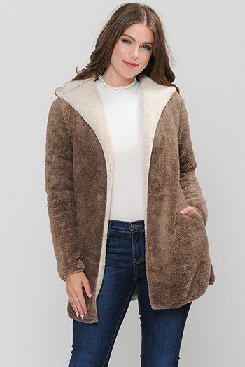 $33 - Cute cheap clothes - fur hooded coat with side pocket