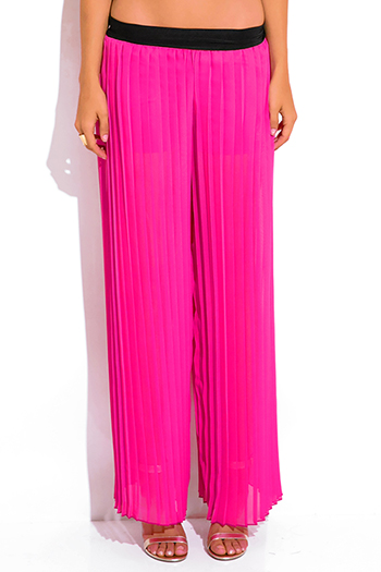 $10 - Cute cheap pink chiffon jumpsuit - hot pink pleated chiffon wide leg palazzo pants