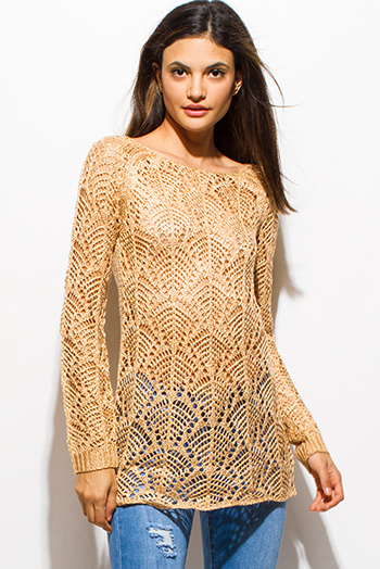$15 - Cute cheap v neck fringe sweater - gold beige boat neck long sleeve sheer crochet sweater knit top