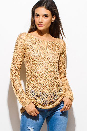 $12 - Cute cheap v neck fitted jumpsuit - gold beige boat neck long sleeve sheer crochet sweater knit top