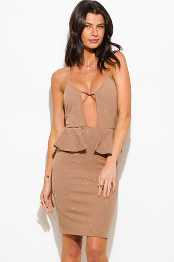 $10 - Cute cheap backless skater cocktail dress - beige shimmer cut out sweetheart neck peplum pencil cocktail party metallic sexy club midi dress