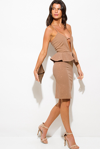 $10 - Cute cheap bejeweled wrap midi dress - beige shimmer cut out sweetheart neck peplum pencil cocktail party metallic sexy club midi dress