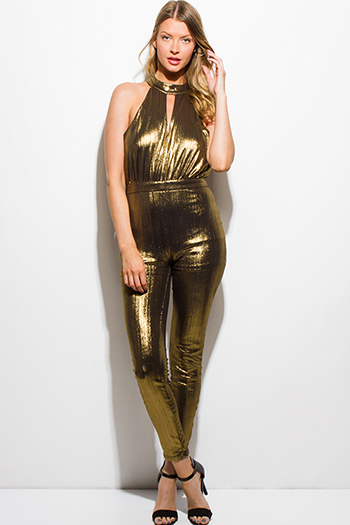 $25 - Cute cheap black backless open back party jumpsuit - gold metallic halter keyhole racer back sleeveless party sexy club bodycon fitted skinny jumpsuit