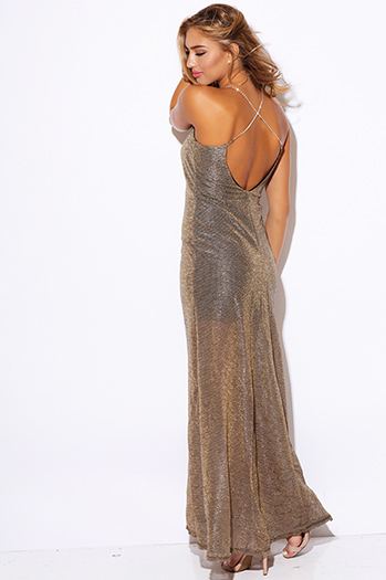 $15 - Cute cheap v neck slit sexy party maxi dress - gold metallic mesh bejeweled backless formal evening cocktail party maxi dress