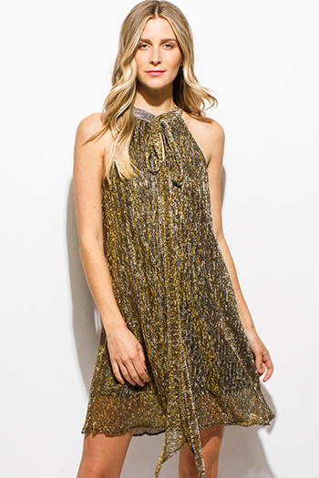 $15 - Cute cheap crepe backless wrap dress - gold metallic pleated mock neck halter tie neck cocktail sexy party swing mini dress
