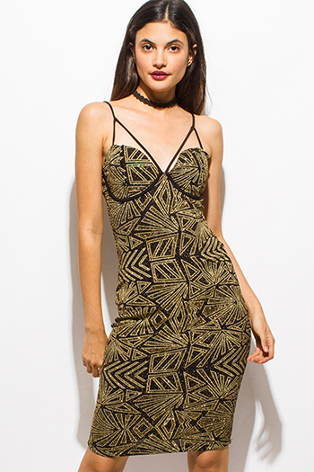 $15 - Cute cheap khaki gold metallic abstract ikat print sleeveless tunic top knit mini dress - gold metallic shimmer abstract print caged sweetheart bustier bodycon fitted sexy club party midi dress