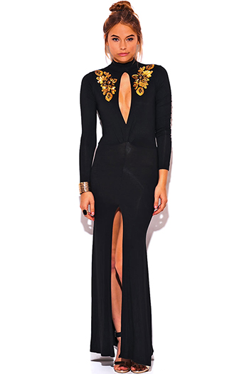 $40 - Cute cheap print slit formal dress - gold sequin applique high neck cut out slit long sleeve fitted formal evening sexy party cocktail dress