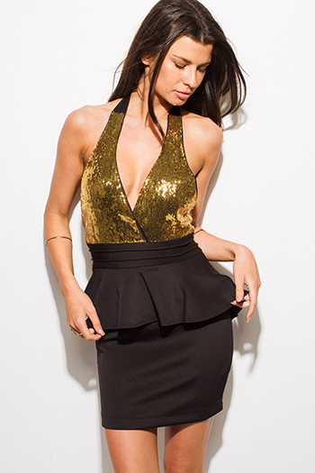 $20 - Cute cheap gold sexy club mini dress - gold sequined black halter backless peplum fitted bodycon club pencil mini dress