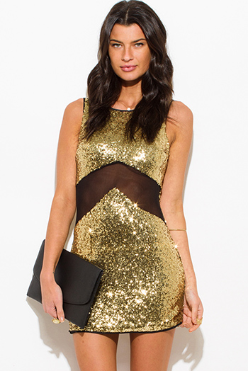 $15 - Cute cheap black abstract print shimmery metallic long sleeve fishnet mesh contrast cut out wrap front halter bodycon fitted sexy club mini dress - gold sequined black mesh cut out bodycon fitted cocktail party mini dress