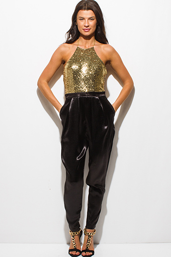 $15 - Cute cheap backless sexy party top - gold sequined halter backless satin pocketed evening party harem jumpsuit
