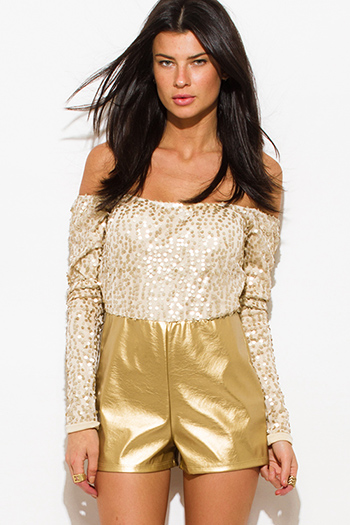 $8 - Cute cheap distressed mocha faux leather stripe banded waisted pleated sexy club mini skirt 88022 - gold sequined off shoulder faux leather clubbing romper jumpsuit