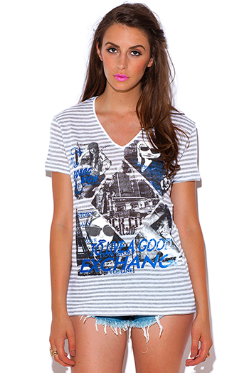 $20 - Cute cheap white v neck crop top - graphic print stripe short sleeve v neck tee shirt knit top