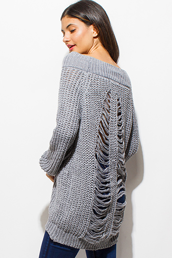 $30 - Cute cheap clothes - gray crochet waffle knit off shoulder long sleeve destroyed shredded boho tunic sweater top