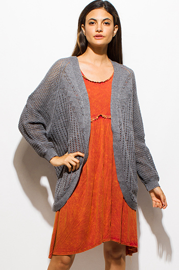 $15 - Cute cheap clothes - gray long dolman sleeve open front cocoon boho sweater knit cardigan jacket
