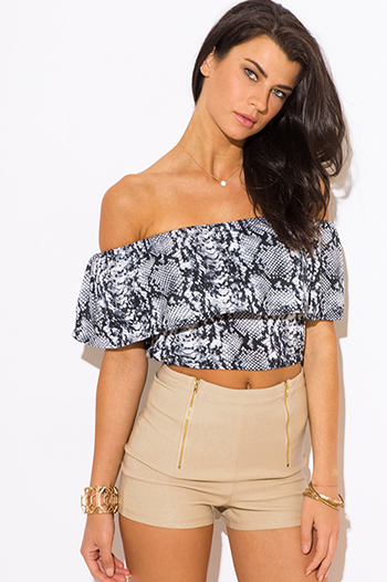$8 - Cute cheap white python snake animal print faux leather pocketed shorts - gray snake animal print ruffle off shoulder boho sexy party crop top