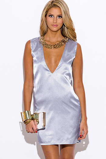 $12 - Cute cheap v neck fitted sexy club mini dress - gray striped satin deep v neck backless cocktail party shift mini dress