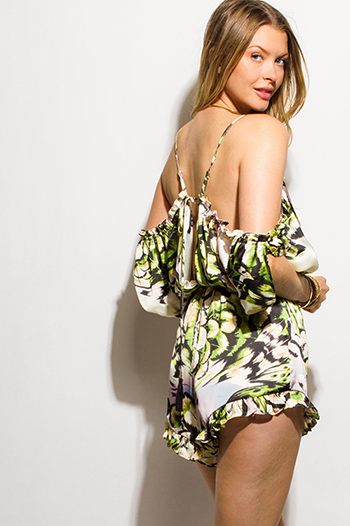 $10 - Cute cheap print open back jumpsuit - green abstract animal print flutter cold shoulder ruffle hem sexy club romper playsuit jumpsuit
