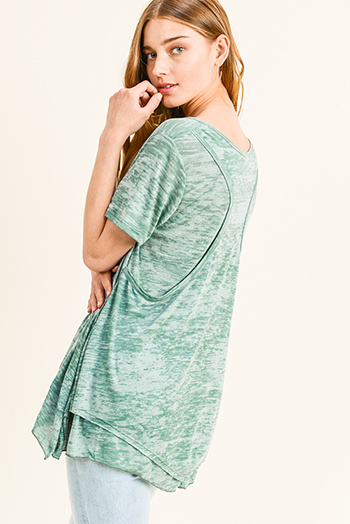 $15 - Cute cheap v neck slit jumpsuit - Green burnout short sleeve round neck racer back layered boho tunic tee shirt top
