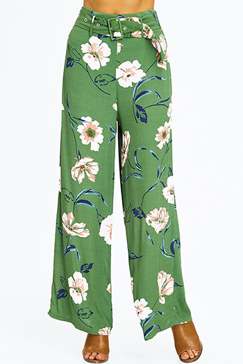 $10 - Cute cheap pocketed pants - green floral print high waist belted boho resort wide leg palazzo pants