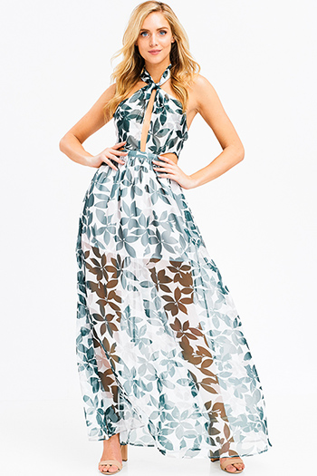 $35 - Cute cheap ribbed bodycon midi dress - Green tropical leaf print sheer crinkle chiffon halter tie neck cut out backless evening gown maxi sun dress