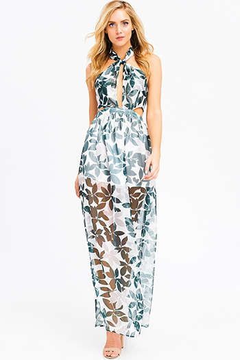 $35 - Cute cheap pink and blue multicolor abstract ethnic print cut out backless boho romper playsuit jumpsuit - Green tropical leaf print sheer crinkle chiffon halter tie neck cut out backless evening gown maxi sun dress