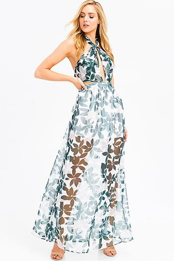 $25 - Cute cheap teal green deep v ruched backless halter wide leg sexy party jumpsuit - Green tropical leaf print sheer crinkle chiffon halter tie neck cut out backless evening gown maxi sun dress
