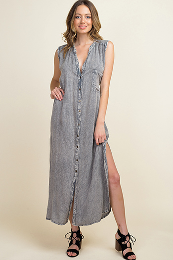 $25 - Cute cheap floral pocketed dress - Grey acid washed denim print sleeveless button up tie waist slit maxi sun dress