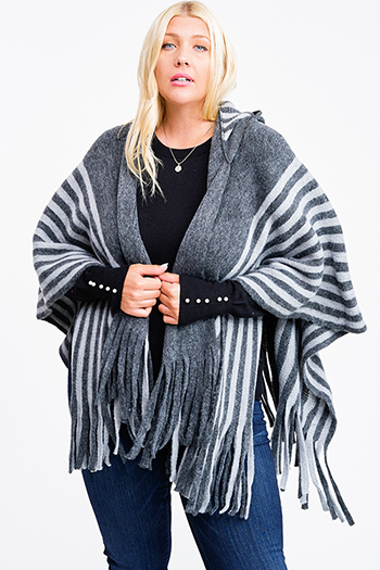 $20 - Cute cheap black ribbed knit surplice faux wrap long slit sleeve wrist tie boho top - Grey striped hooded fringe trim boho fuzzy knit poncho sweater cardigan top