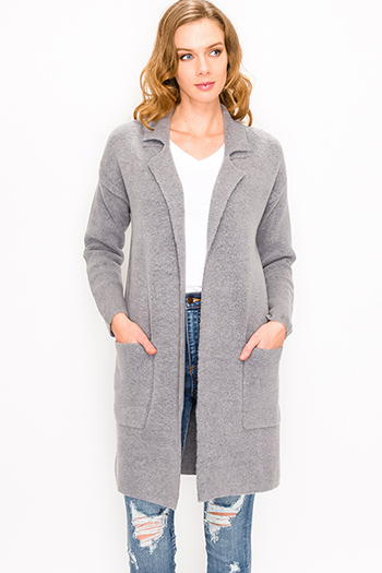 $30 - Cute cheap black ribbed knit long dolman sleeve surplice faux wrap belted sweater mini dress - Grey sweater knit long sleeve pocketed open front duster coat jacket