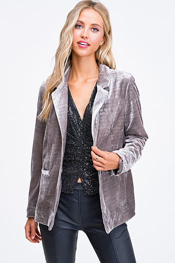 $25 - Cute cheap charcoal gray long sleeve double breasted button up hooded pocketed jacket - Grey velvet long sleeve single button boho sexy party blazer jacket top