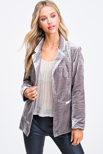 $25 - Cute cheap charcoal gray long sleeve ruffle hem boho sweater top - Grey velvet long sleeve single button boho sexy party blazer jacket top