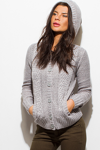 $15 - Cute cheap career wear - heather gray crochet sweater knit long sleeve hooded pocketed cardigan jacket top