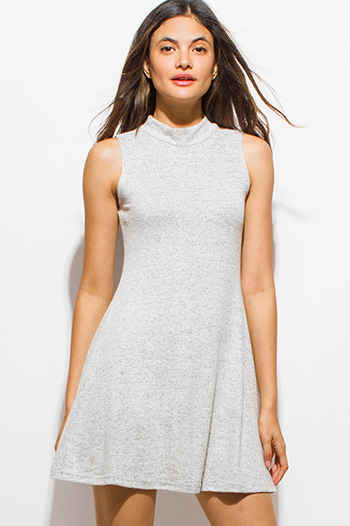 $15 - Cute cheap gray bodycon mini dress - heather gray fuzzy sweater knit sleeveless mock neck a line skater mini dress
