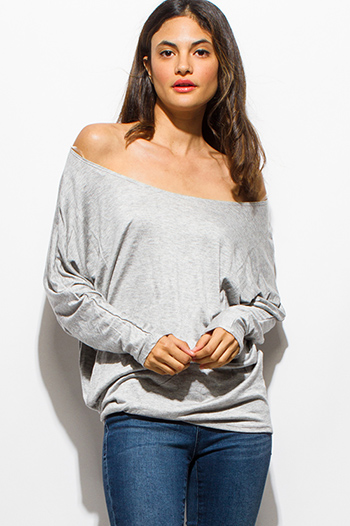 $15 - Cute cheap olive green front pocket long sleeve sweater knit top - heather gray long dolman sleeve ruched off shoulder boho tunic tee top