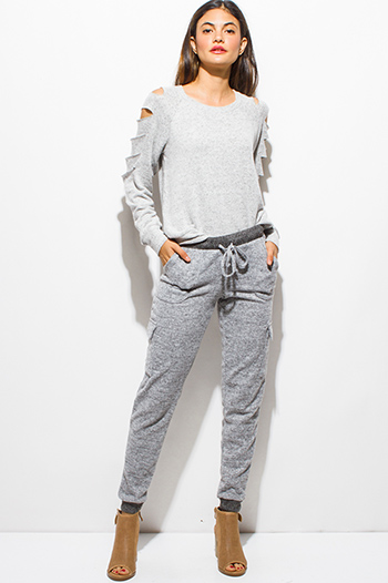 $10 - Cute cheap dark charcoal gray side see through mesh panel fitness yoga leggings - heather gray mid rise fleece pocketed harem jogger sweat pants