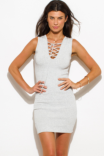 $15 - Cute cheap ribbed fitted bandage skirt - heather gray ribbed  knit laceup sleeveless fitted bodycon sexy club sweater mini dress
