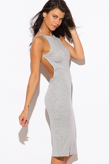 $9 - Cute cheap gray bodycon midi dress - heather gray ribbed knit jersey strappy halter backless sexy party midi dress