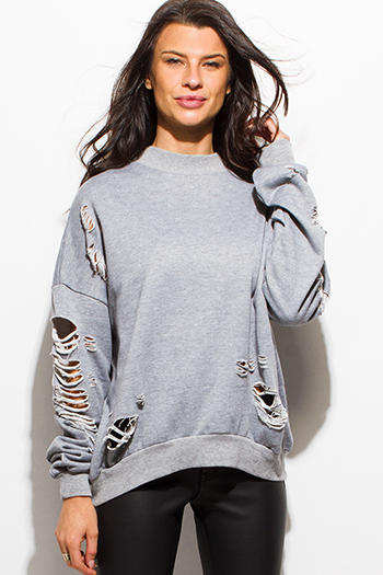 $15 - Cute cheap light heather gray cotton round neck short sleeve fitted tee shirt top - heather gray ripped distressed long sleeve pullover sweatshirt top