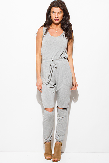 $20 - Cute cheap nude beige mesh inset cut out cold shoulder sexy clubbing crop top - heather gray sleeveless knee cut out slit lounge harem jumpsuit