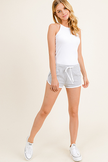 $8 - Cute cheap green cotton tunic - Heather grey cotton blend elastic drawstring tie waist running lounge shorts