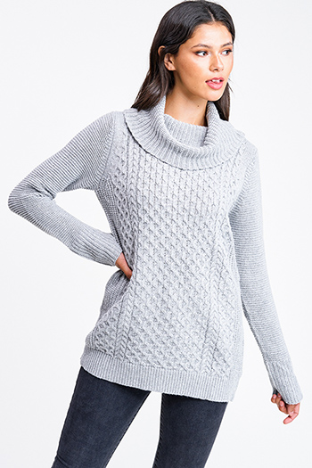 $20 - Cute cheap Heather grey cowl neck cable knit long sleeve boho tunic sweater top