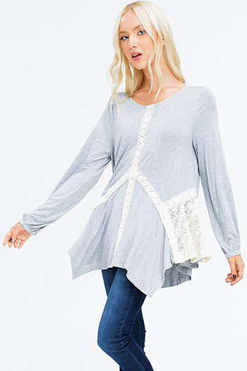 $15 - Cute cheap stone gray fuzzy knit quarter tiered bell sleeve round neck boho top - heather grey crochet lace long sleeve asymmetric hem boho top
