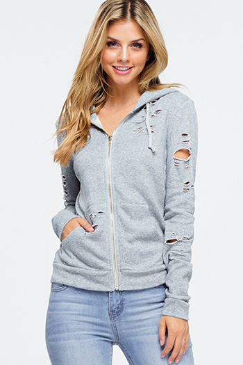 $15 - Cute cheap urban - heather grey distressed destroyed zip up pocketed hoodie jacket top