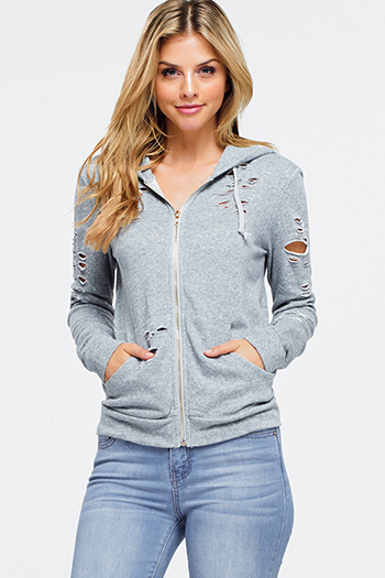 $15 - Cute cheap olive green zip up pocketed button trim hooded puffer coat jacket - heather grey distressed destroyed zip up pocketed hoodie jacket top