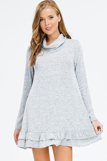 $15 - Cute cheap v neck open back sexy party dress - heather grey fuzzy sweater knit cowl neck long sleeve ruffle hem boho mini dress